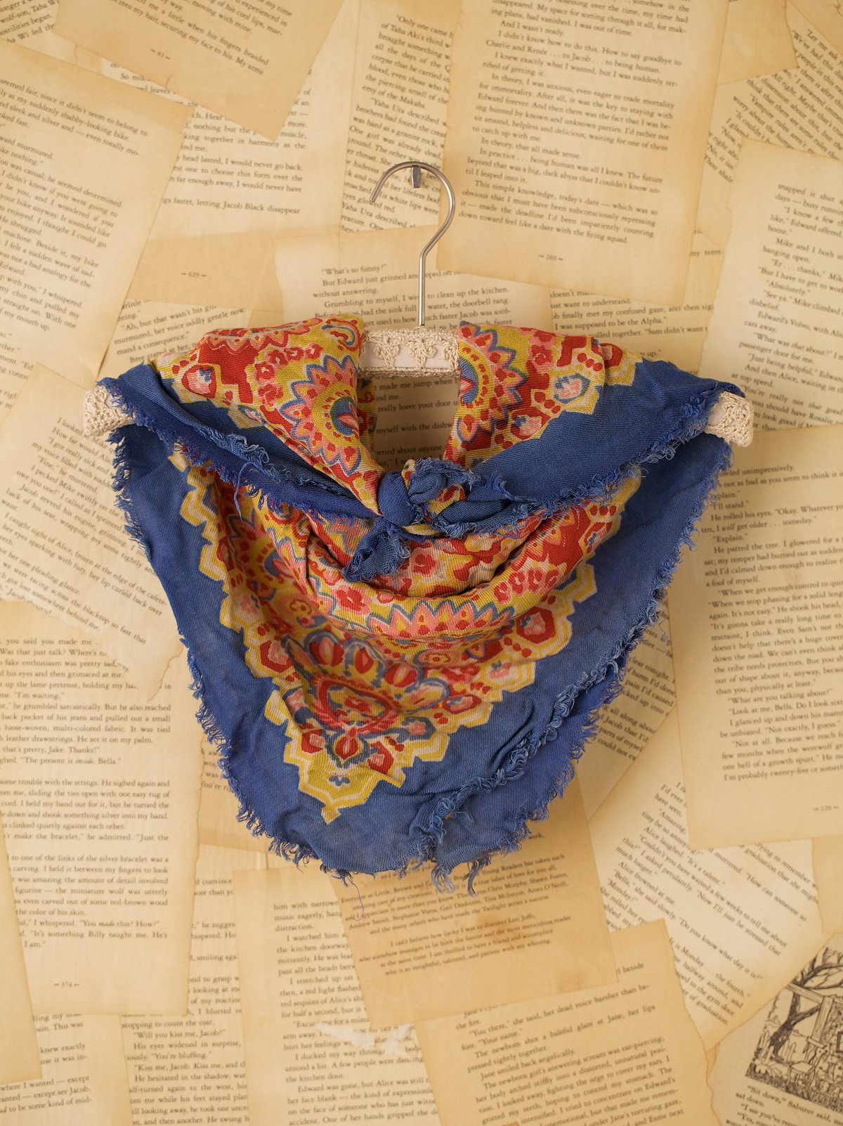 Vintage Printed Scarf with Frayed Edges