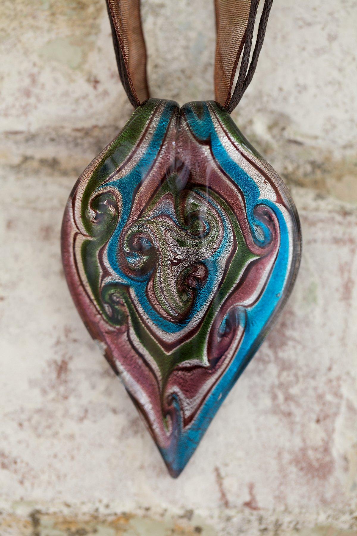 Vintage Large Handblown Teardrop Necklace