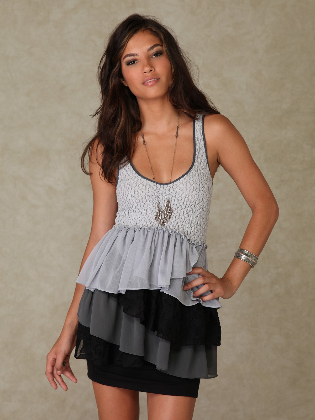 Sleeveless Ruffle Layers Top