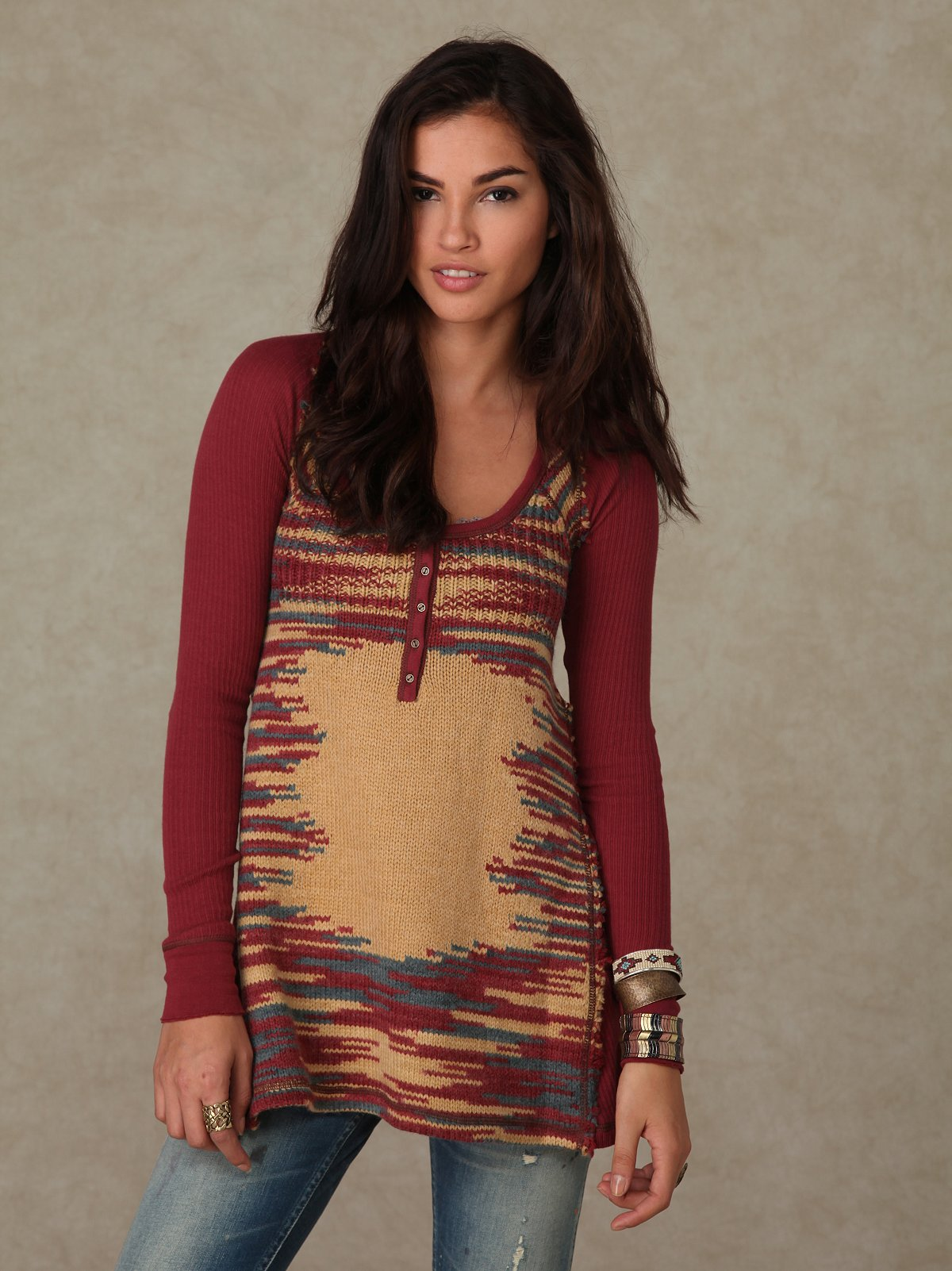 We the Free Henley Sweater Spacedye Tunic