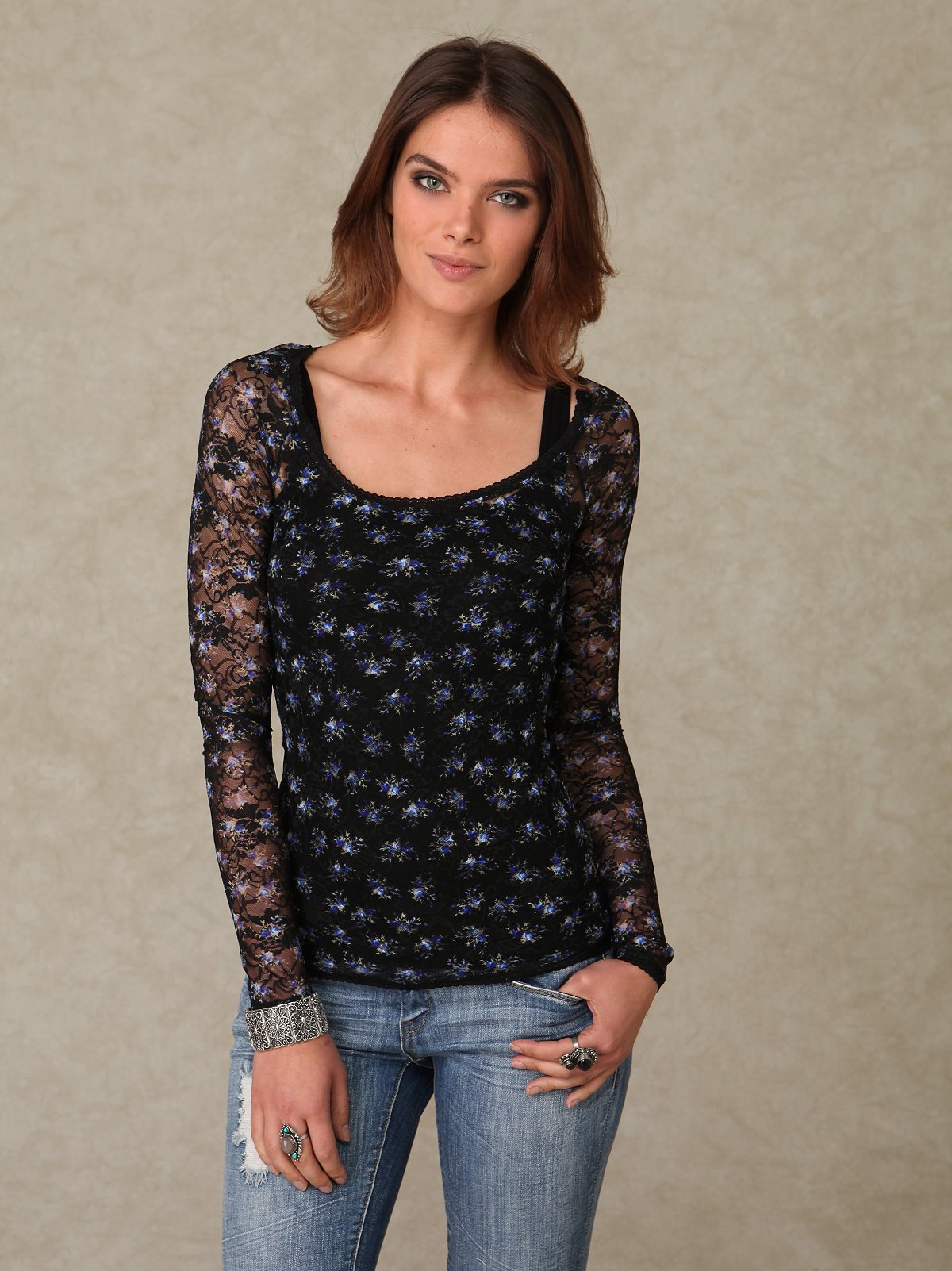 Longsleeve Ditsy Printed Lace Top