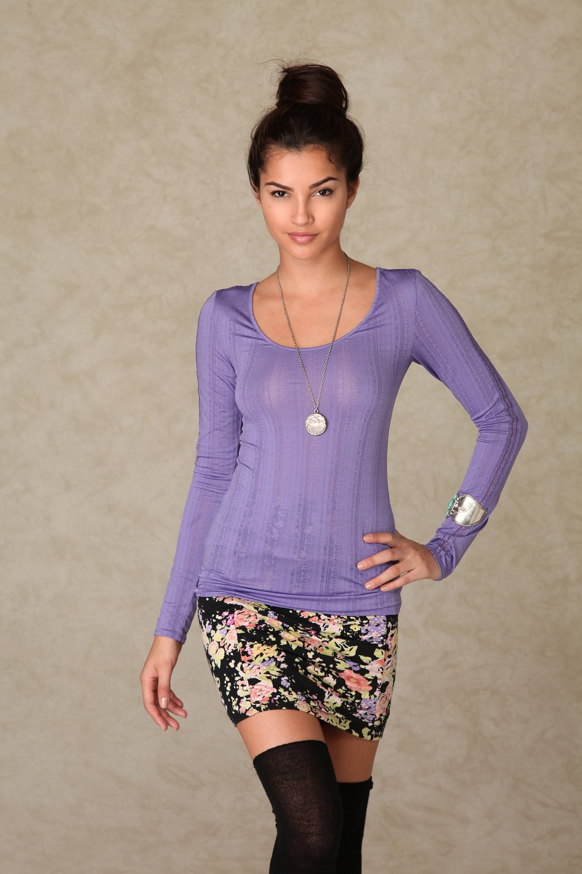 Long Sleeve Pointelle Layer Top