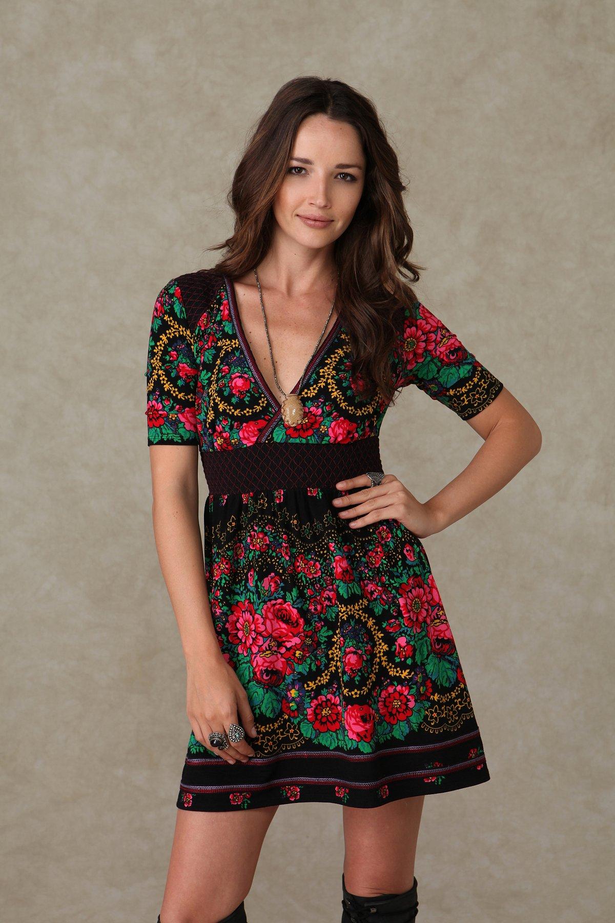Short Sleeve Printed Surplice Dress