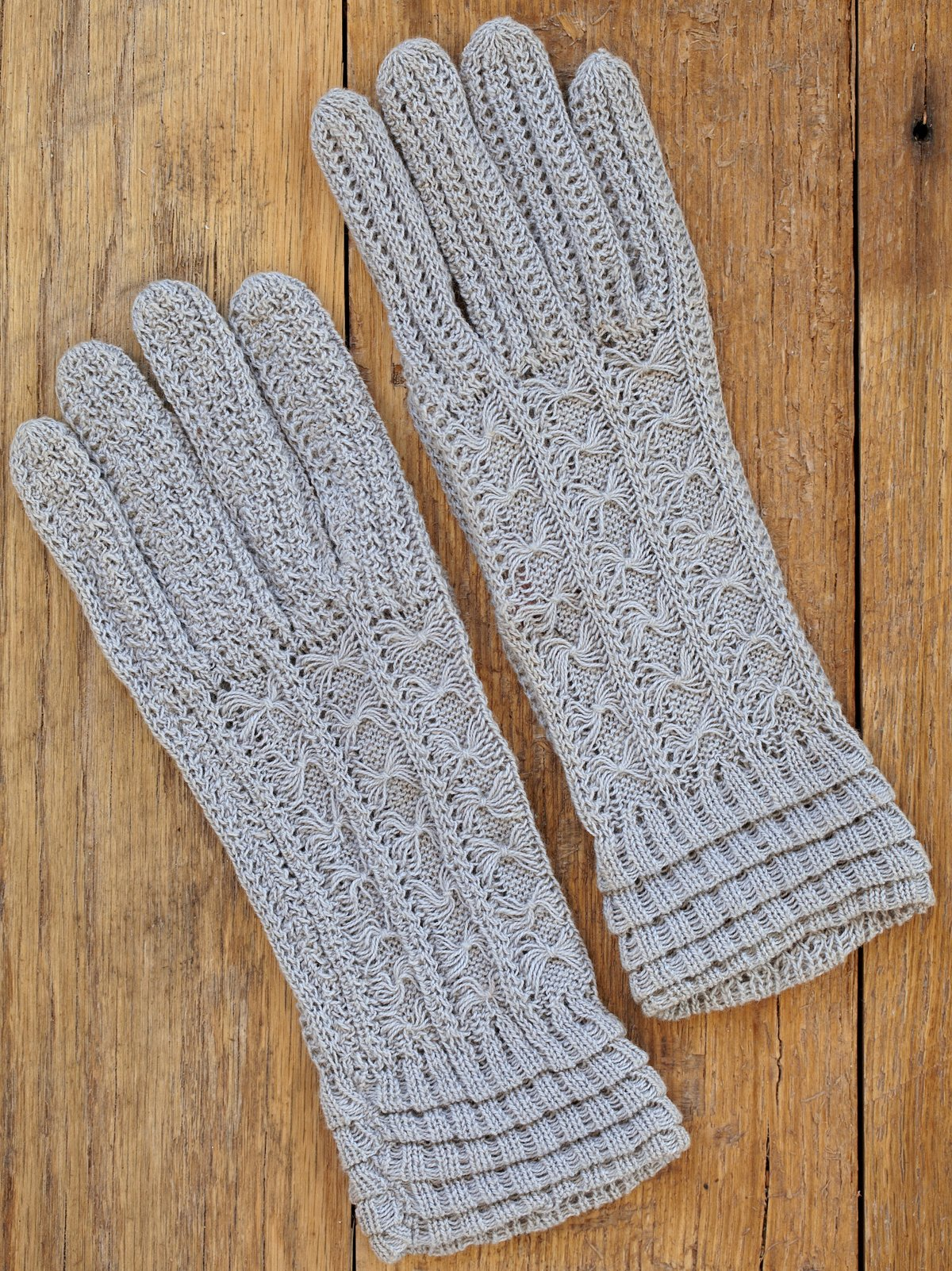 Vintage Hand Knit Grey Gloves