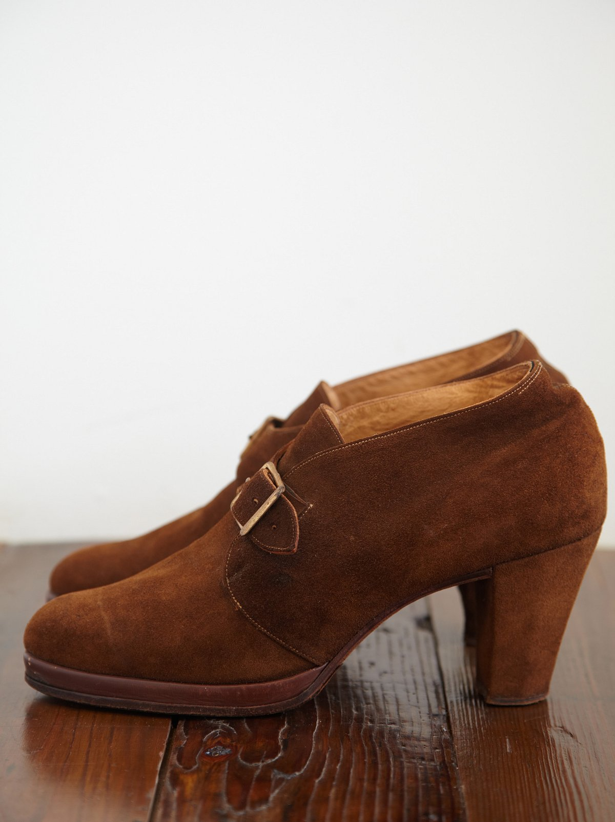 Vintage Suede Buckle Booties