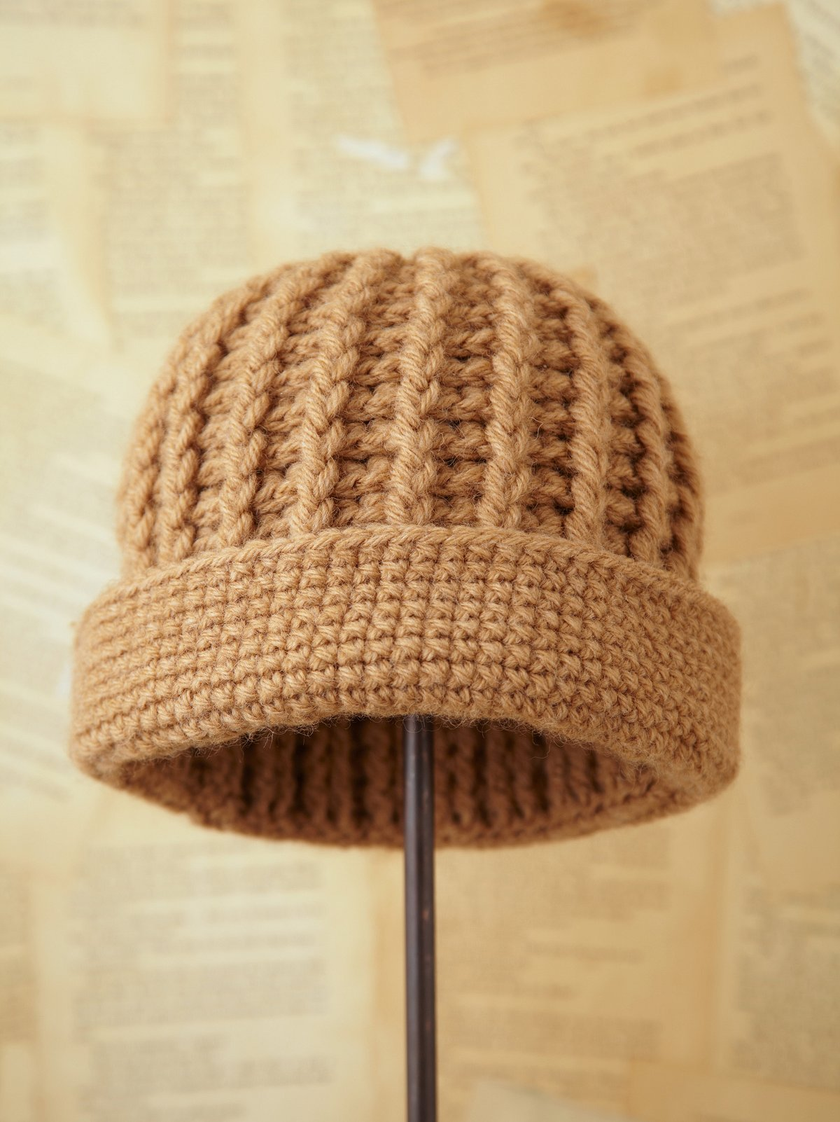 Vintage Tan Hand Knit Hat