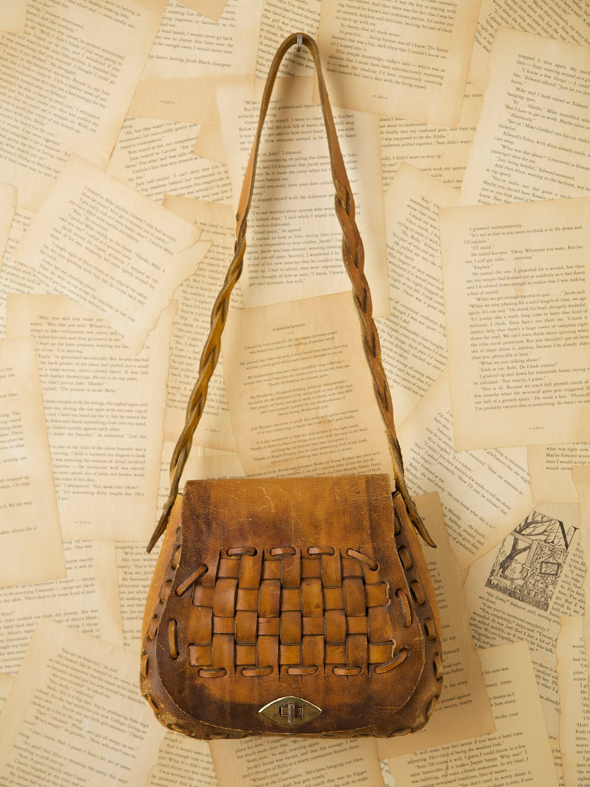 Vintage Leather Boho Bag with Basketweave Flap