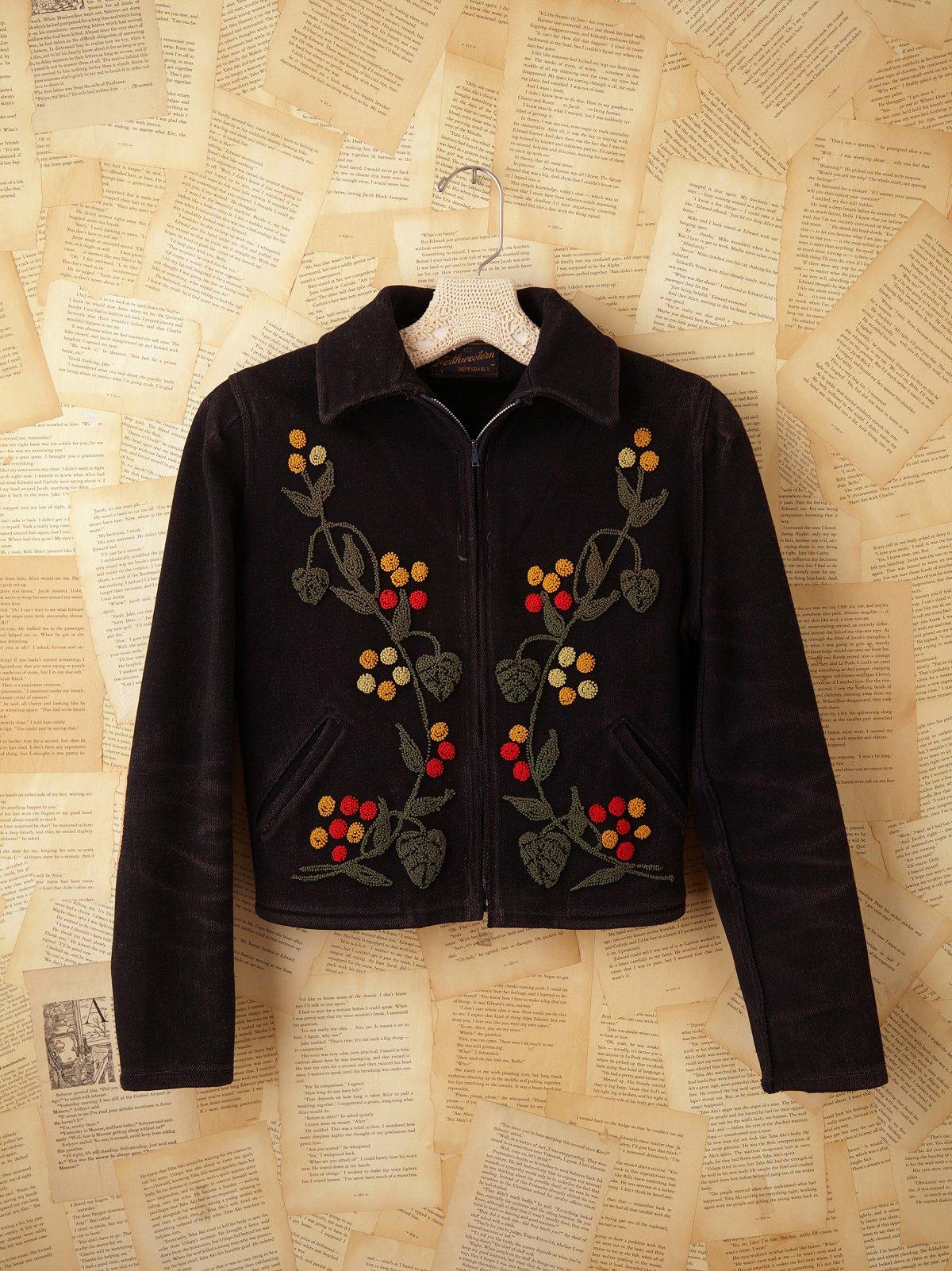 Vintage Embroidered Melton Wool Coat