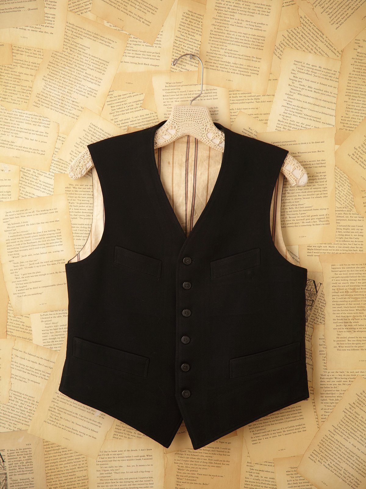 Vintage 1960s 6-Button Black Vest