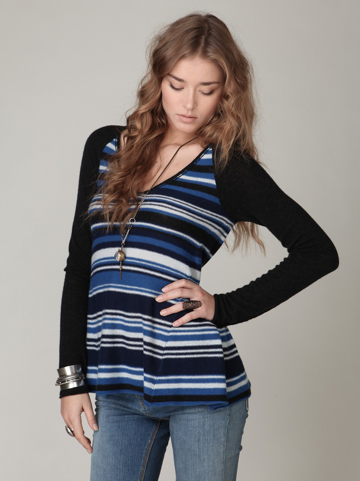 Cashmere V-Neck Stripe Pullover