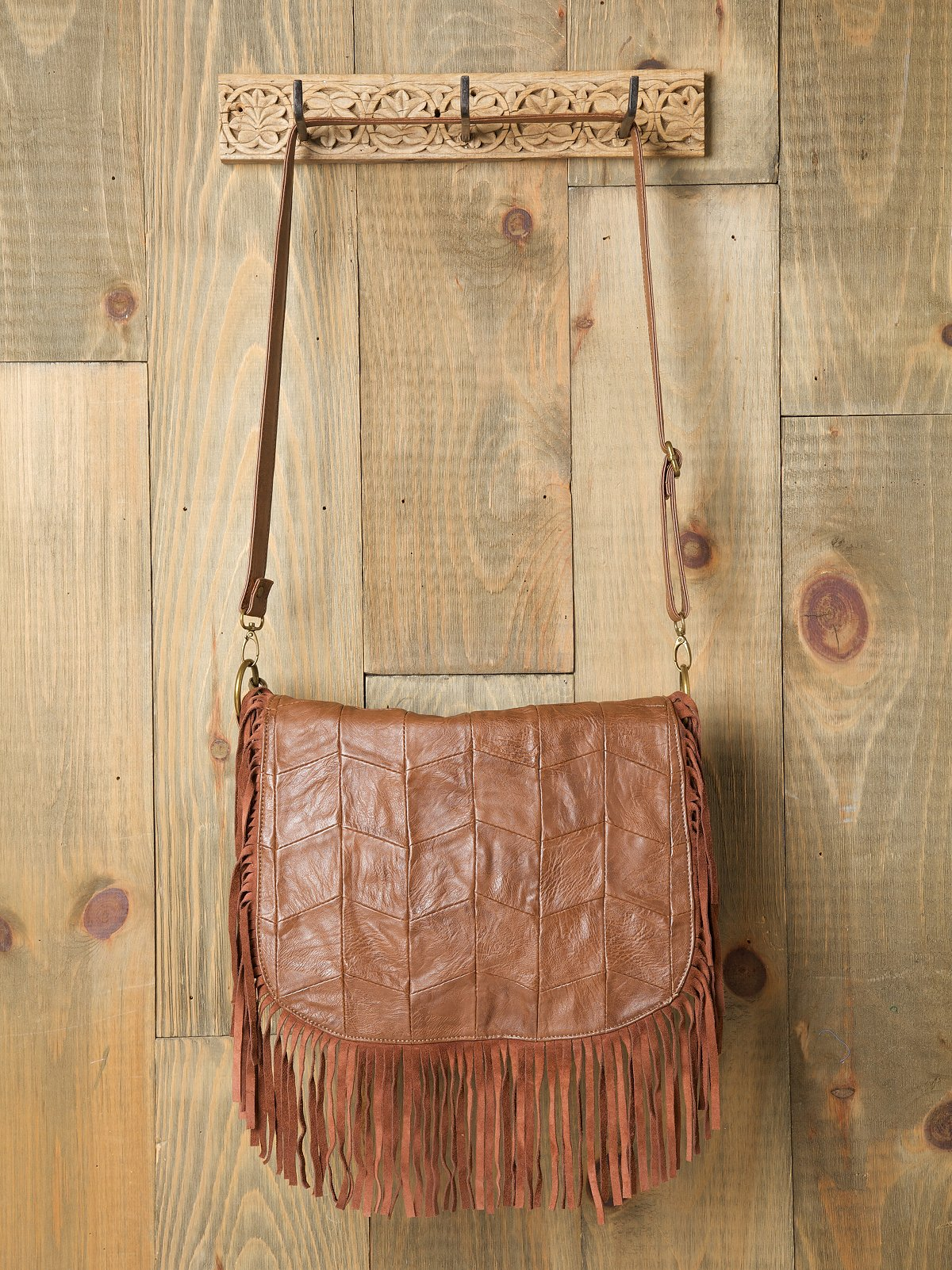 Patched Fringe Boho Messenger Bag