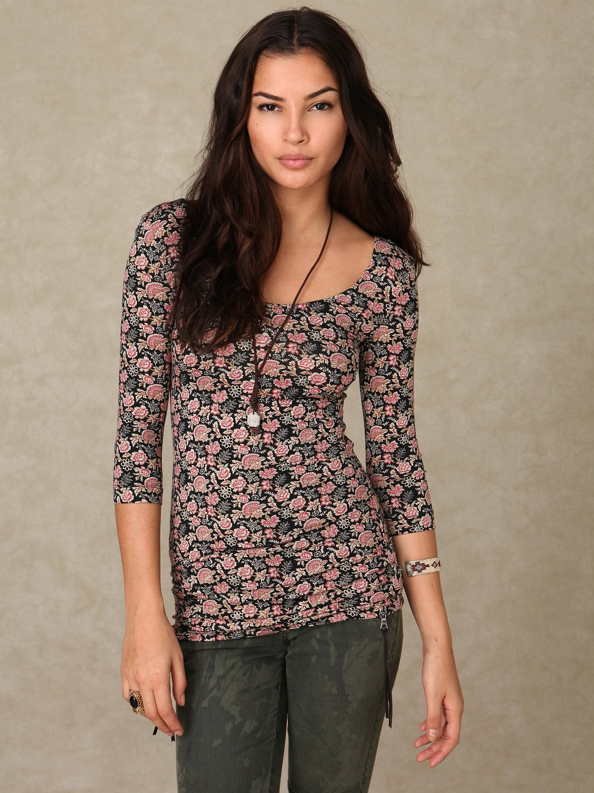 Bohemian Florals 3/4 Sleeve Top