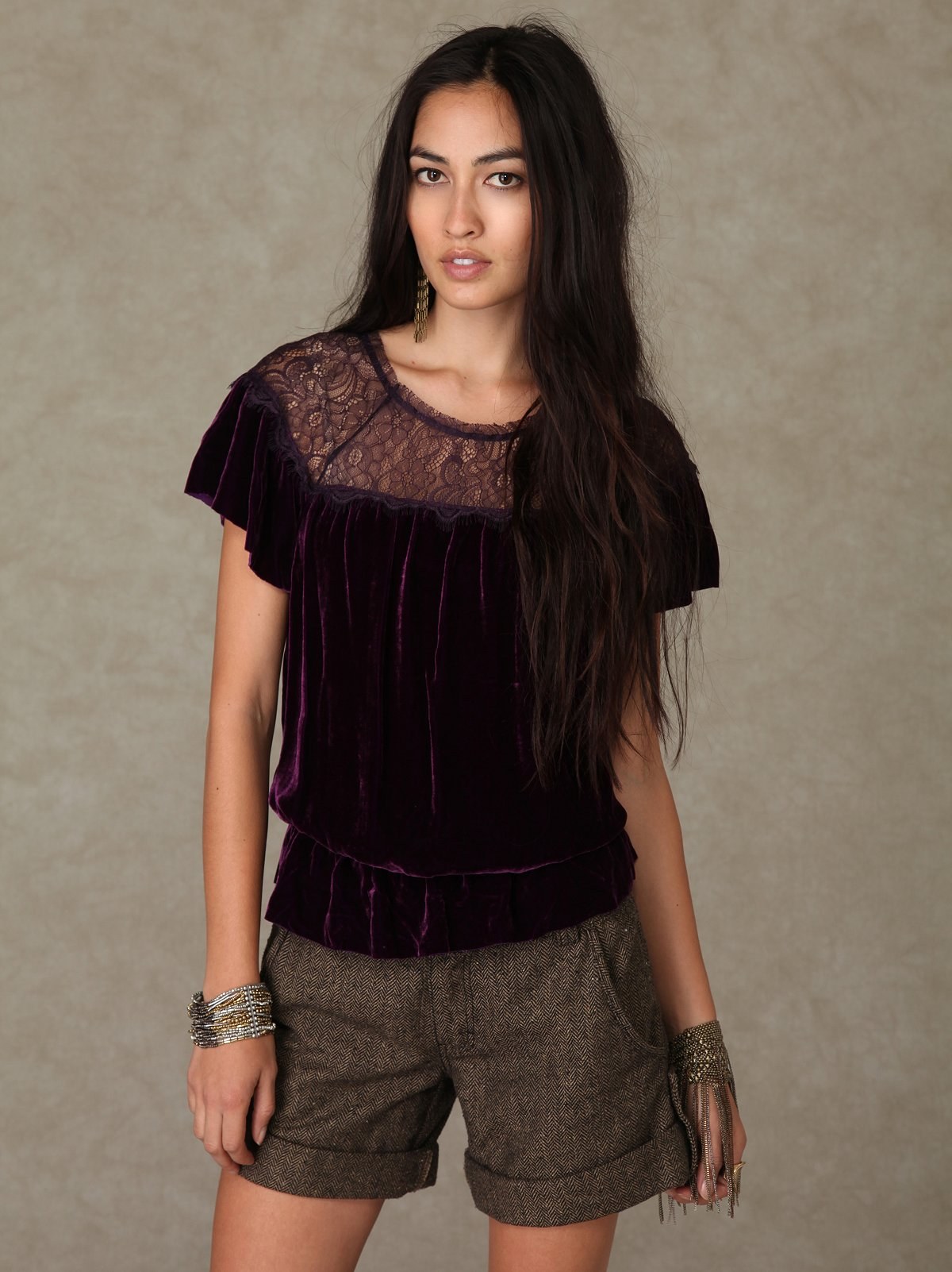 Velvet and Lace Top