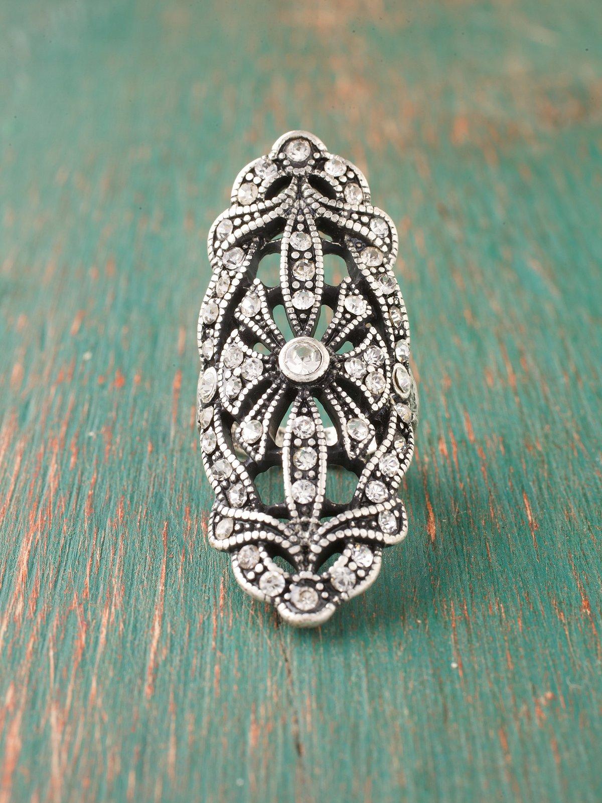Rhinestone Crest Ring