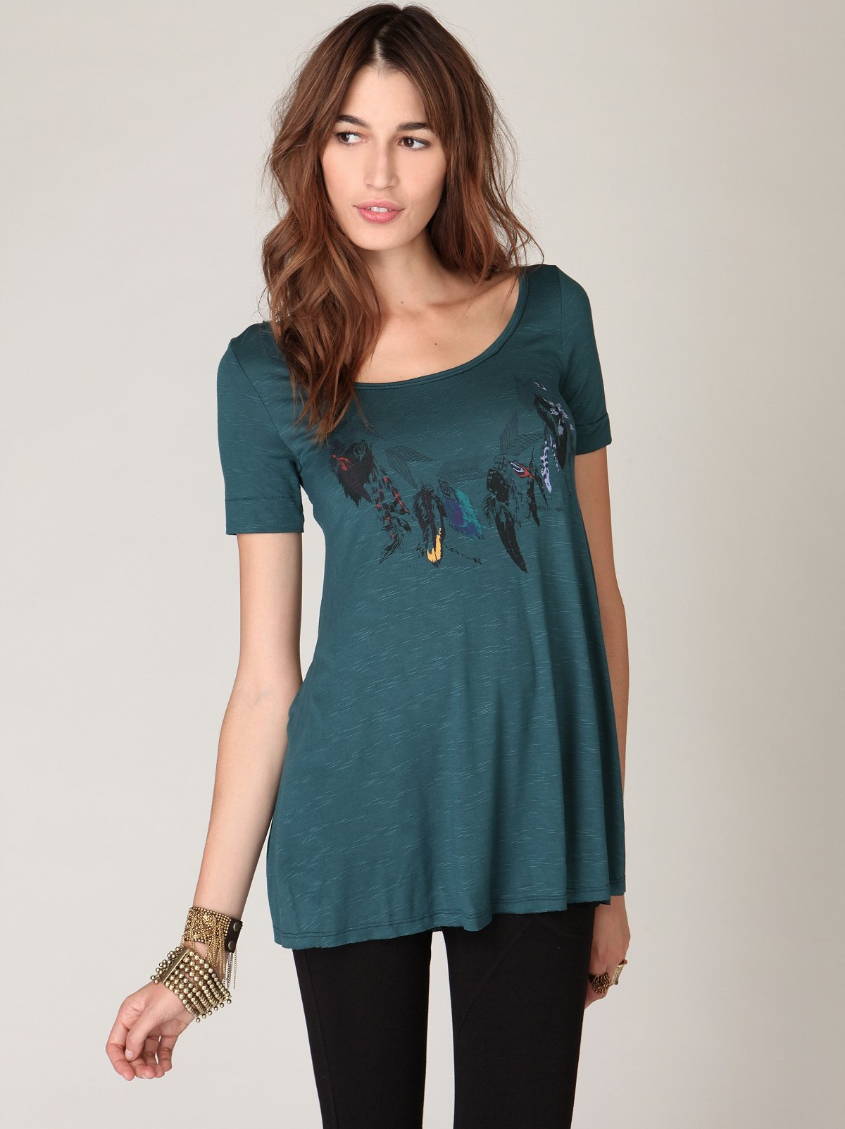 We The Free Short Sleeve Feathers Tunic