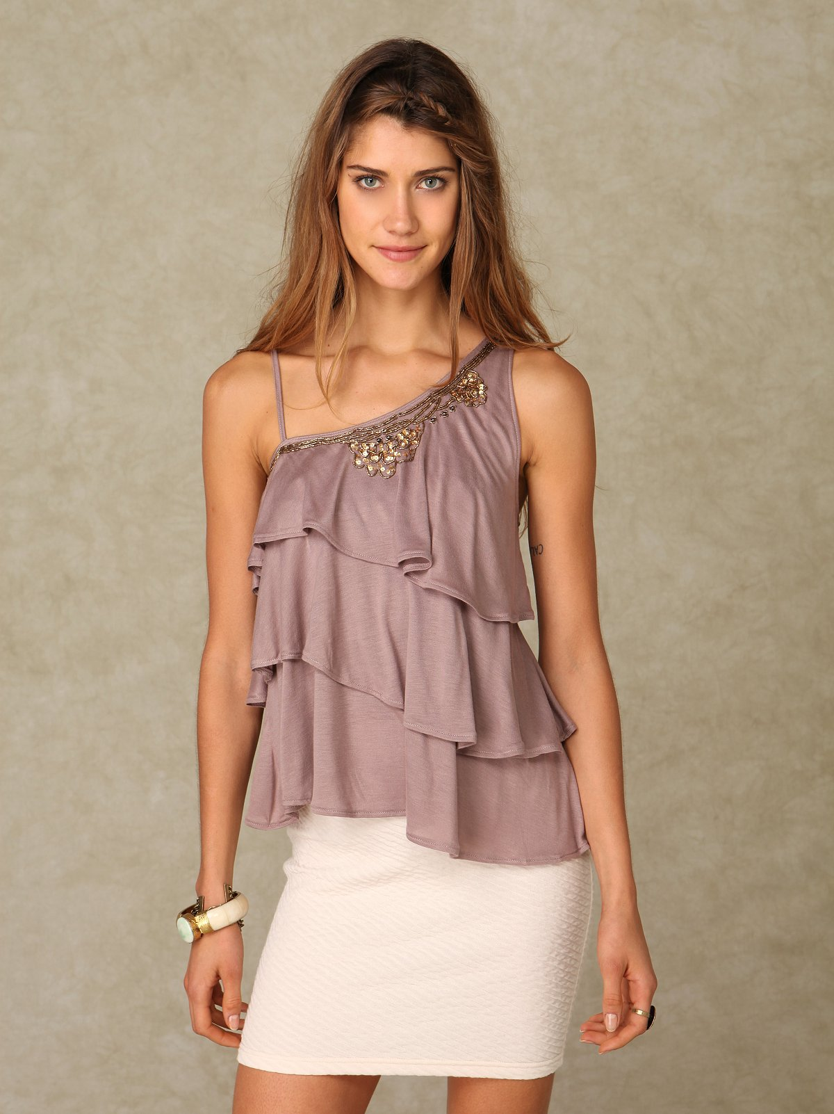 One Shoulder Embellished Ruffle Top