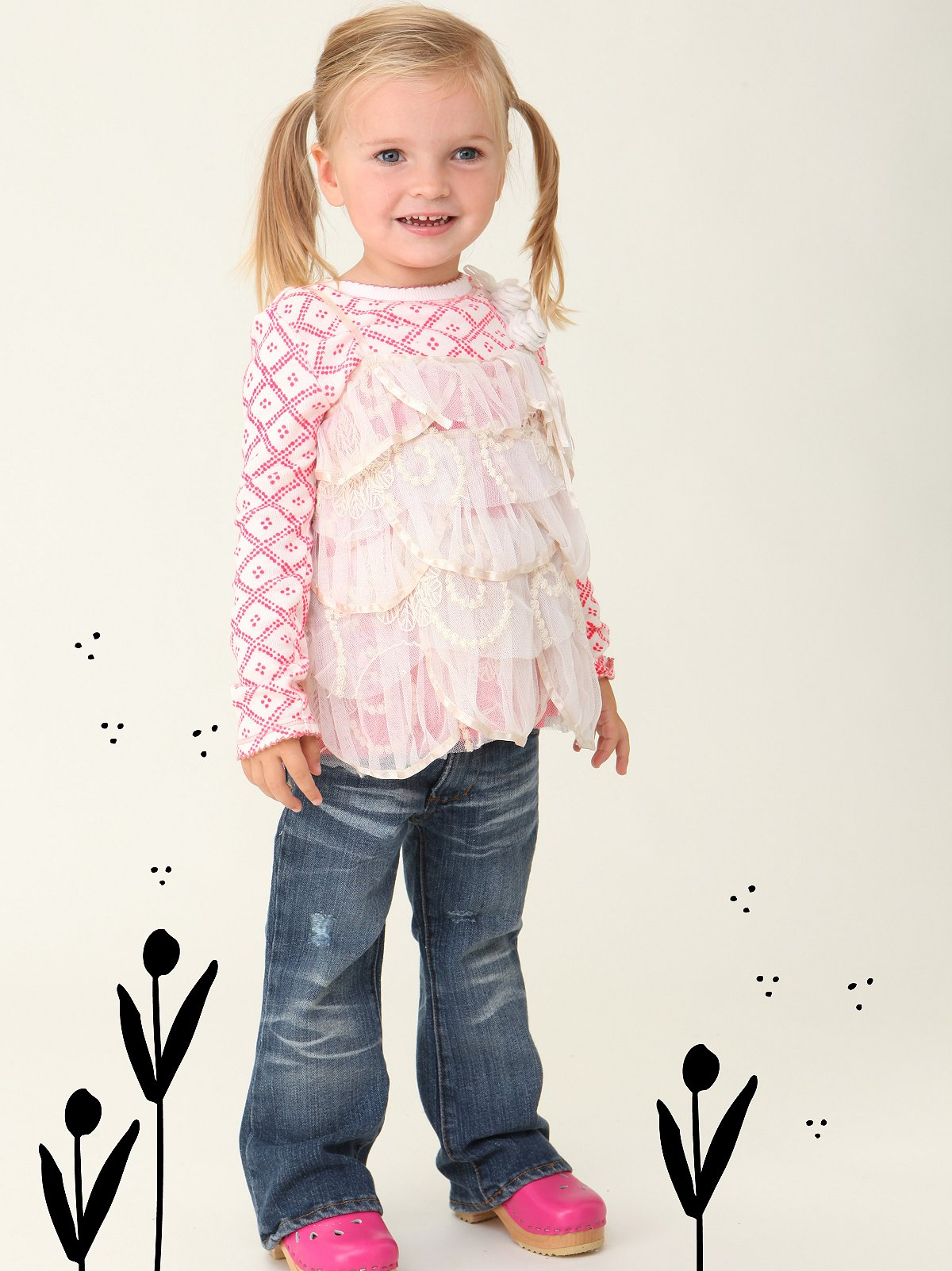 Wee People Flower Petal Mesh Top