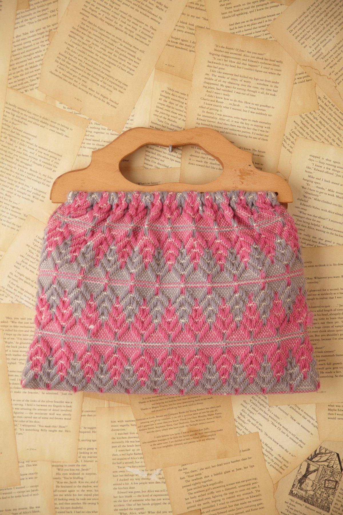Vintage Pink and Grey Sewing Bag