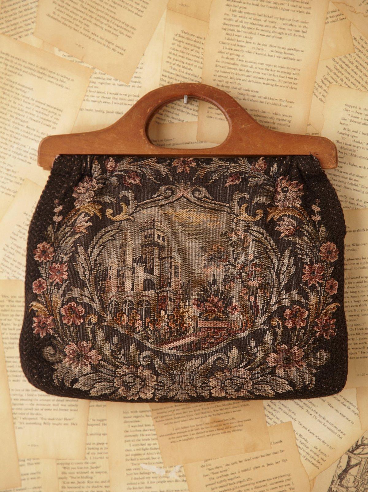 Vintage Needlepoint Motif Sewing Bag