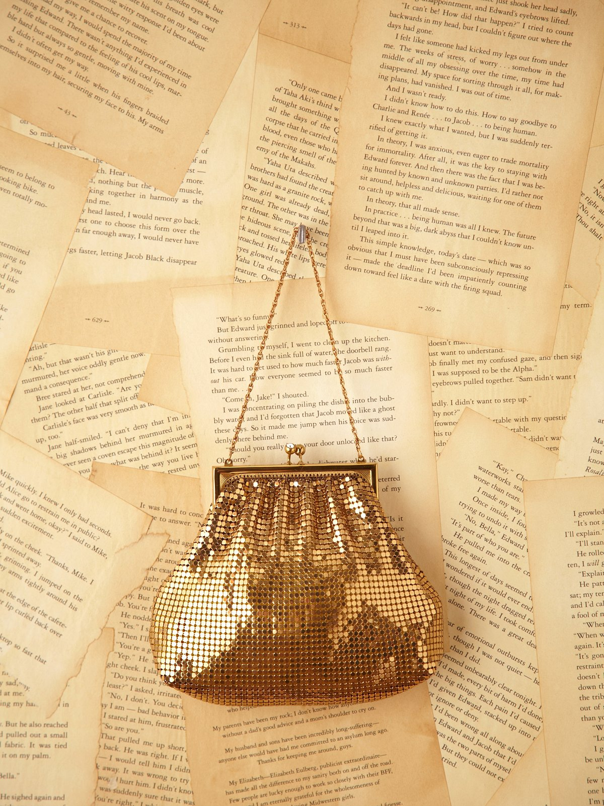 Vintage Gold Metal Mesh Evening Bag