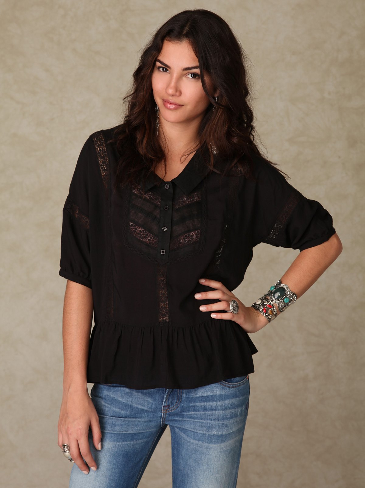 3/4 Sleeve Lace Dropwaist Top