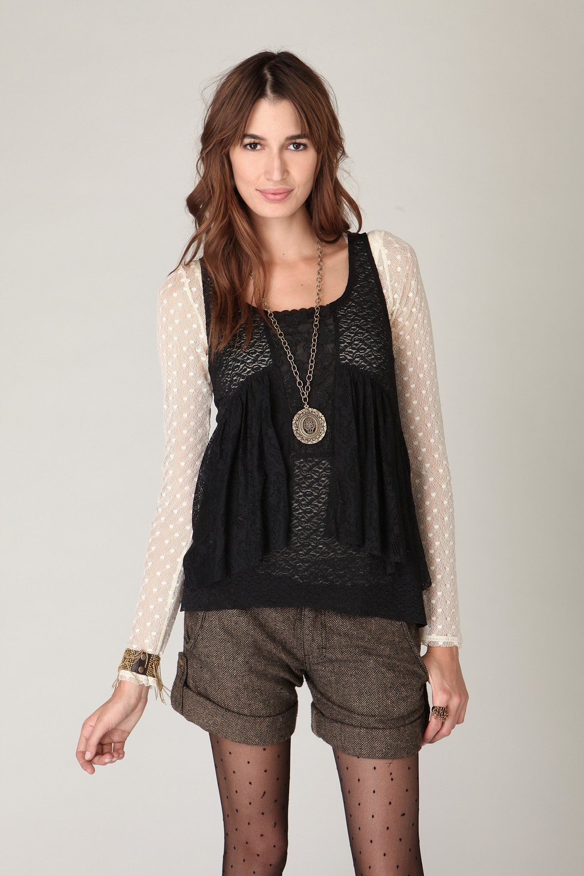 Ruffle Back Mixed Lace Tank
