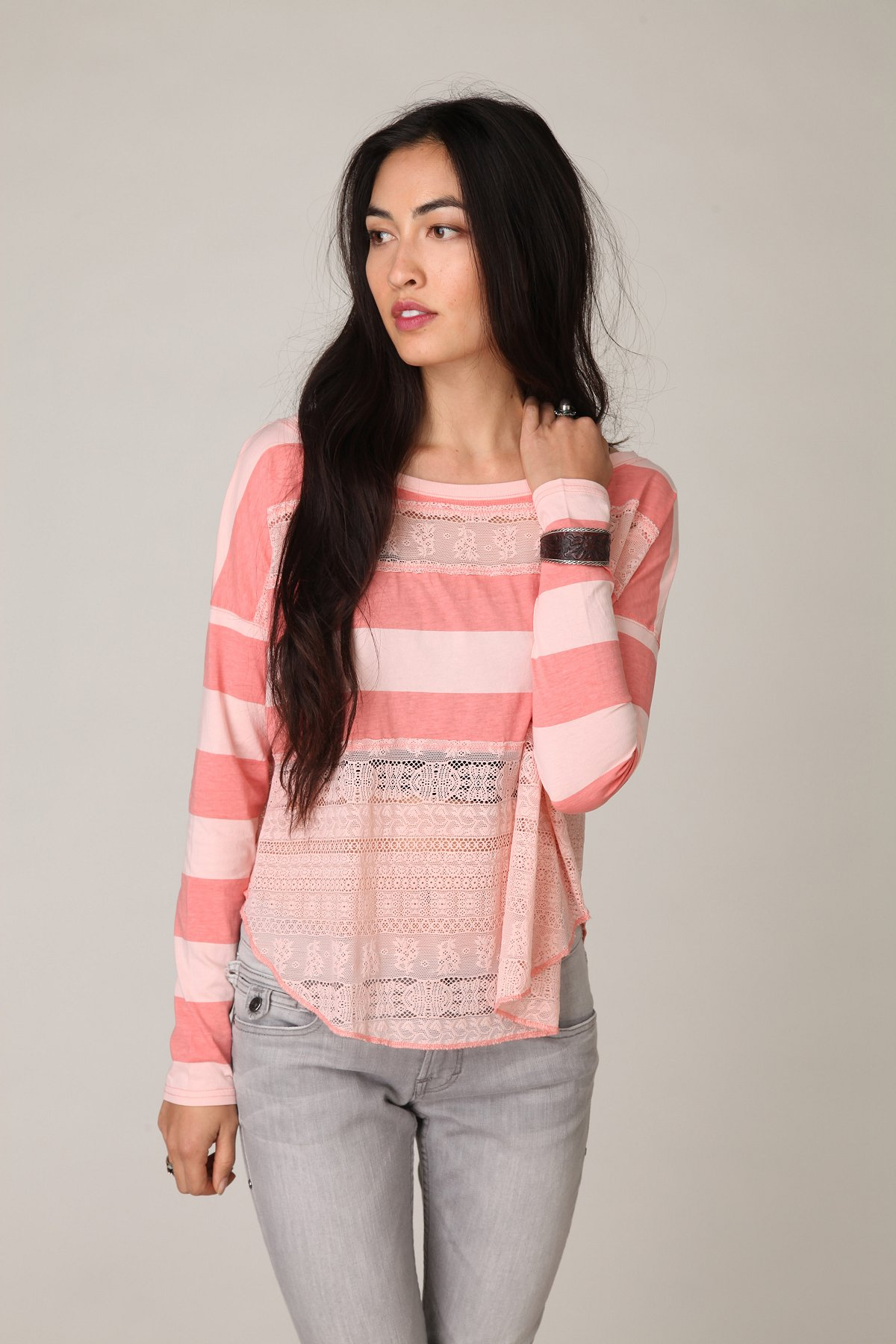 Long Sleeve Lacey Stripes Top