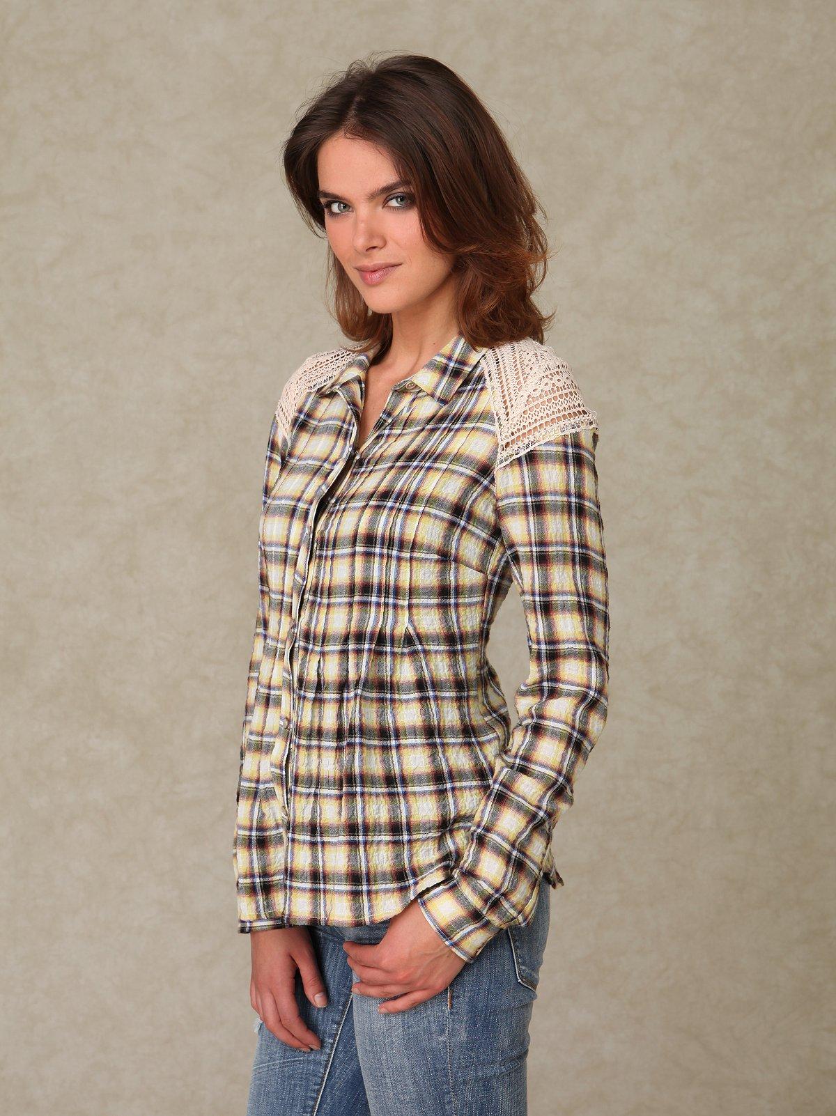 Longsleeve Crochet Plaid Shirt