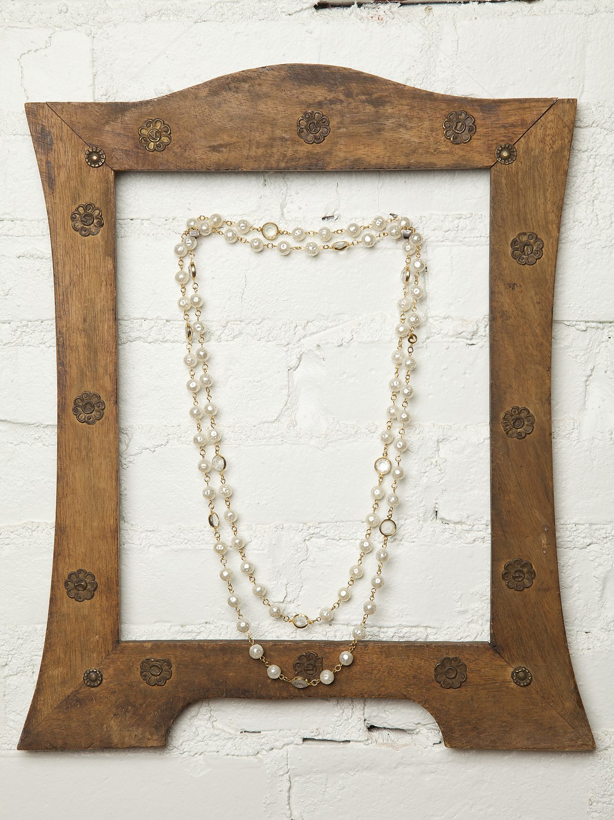 Vintage Long Pearl and Crystal Necklace