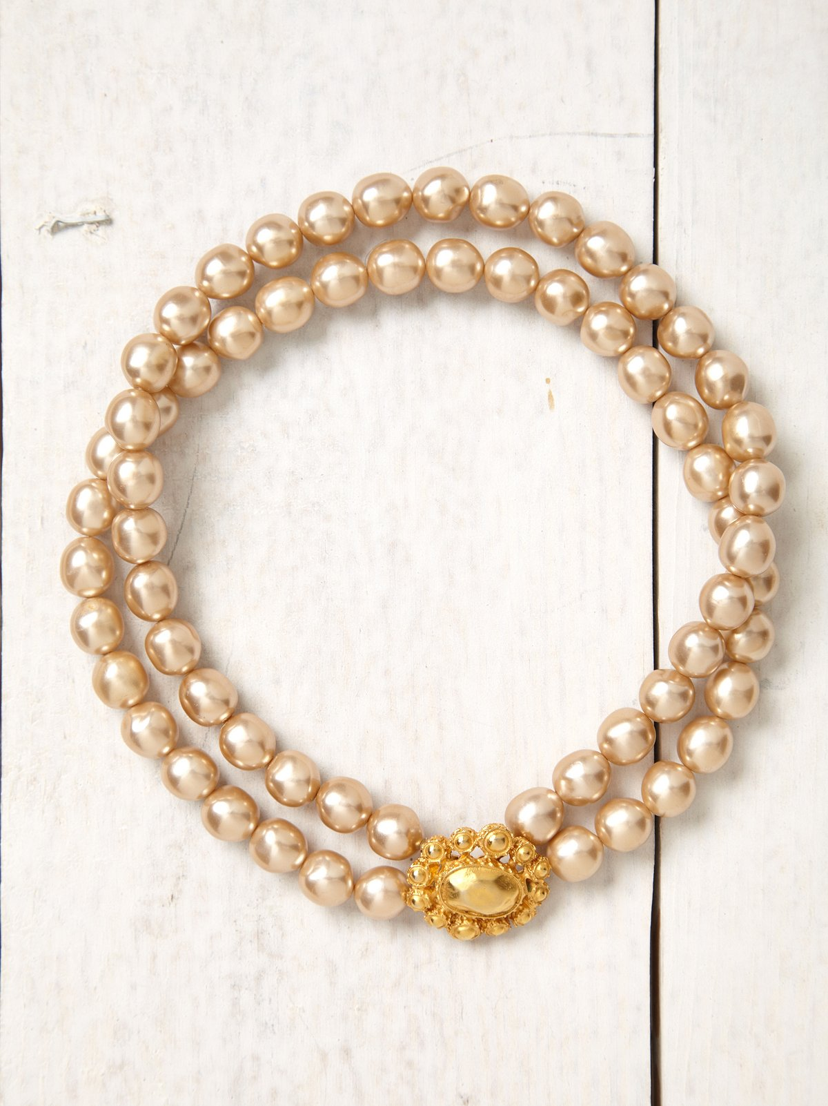 Vintage Champagne Double Banded Pearl Necklace