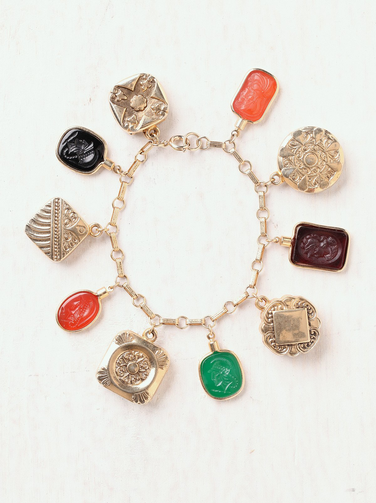 Vintage Intaglio Charm Bracelet