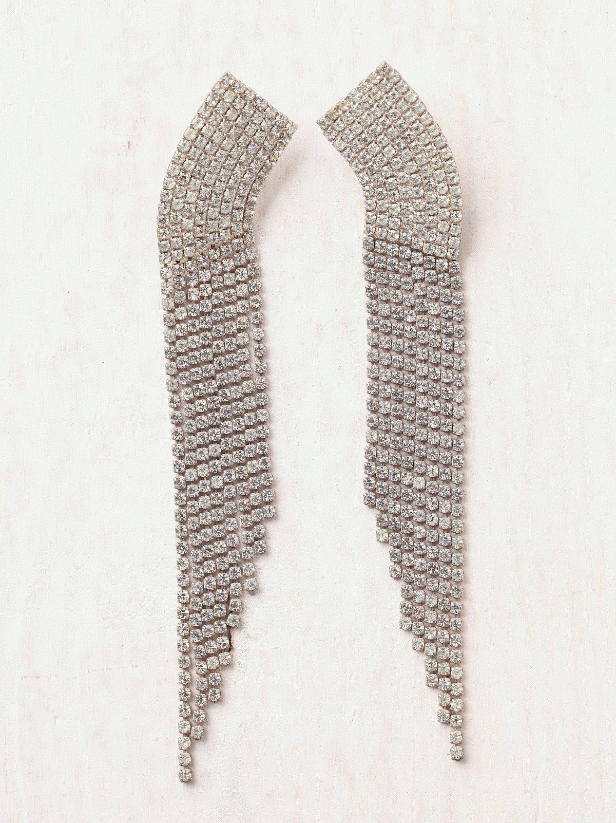 Vintage Rhinestone Swoosh Earrings
