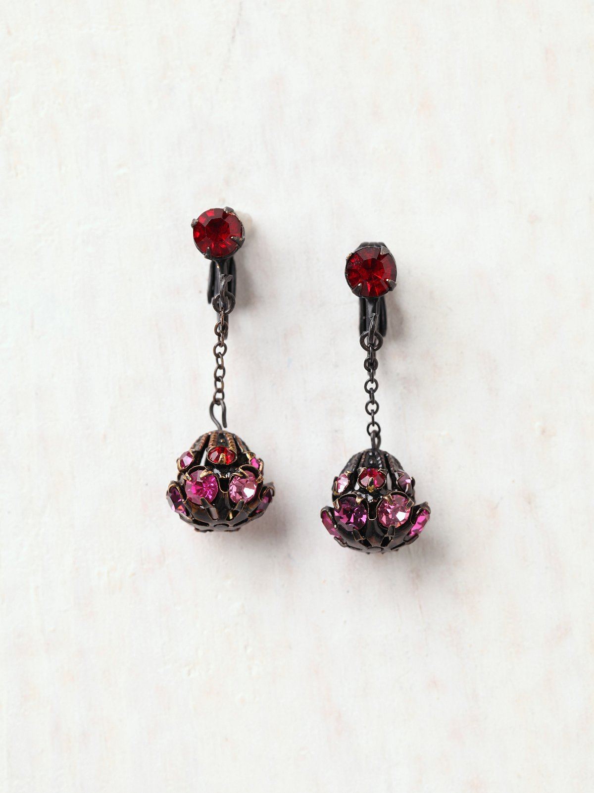 Vintage Rosy Globe Earrings