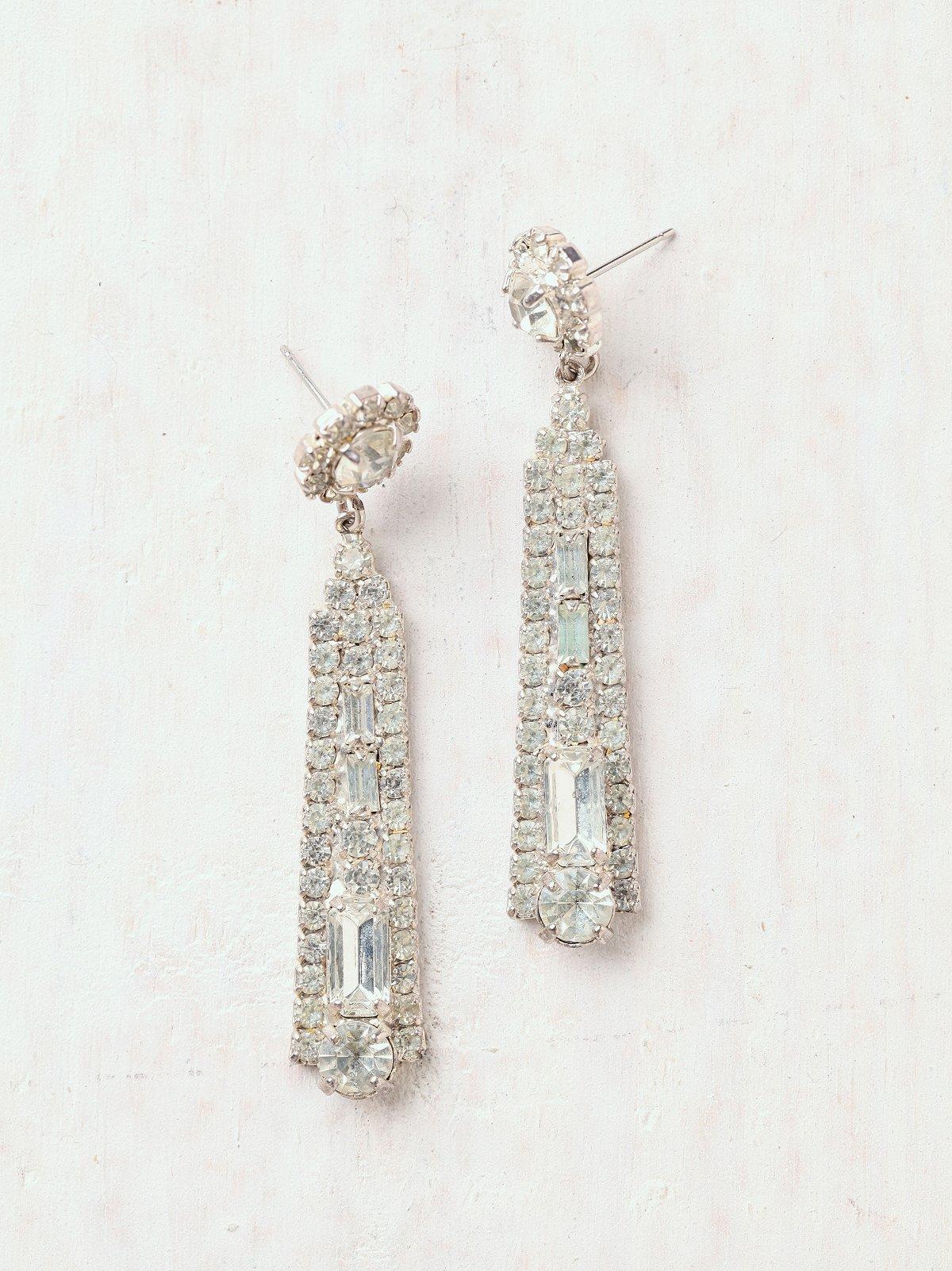 Vintage Rhinestone Paddle Earrings