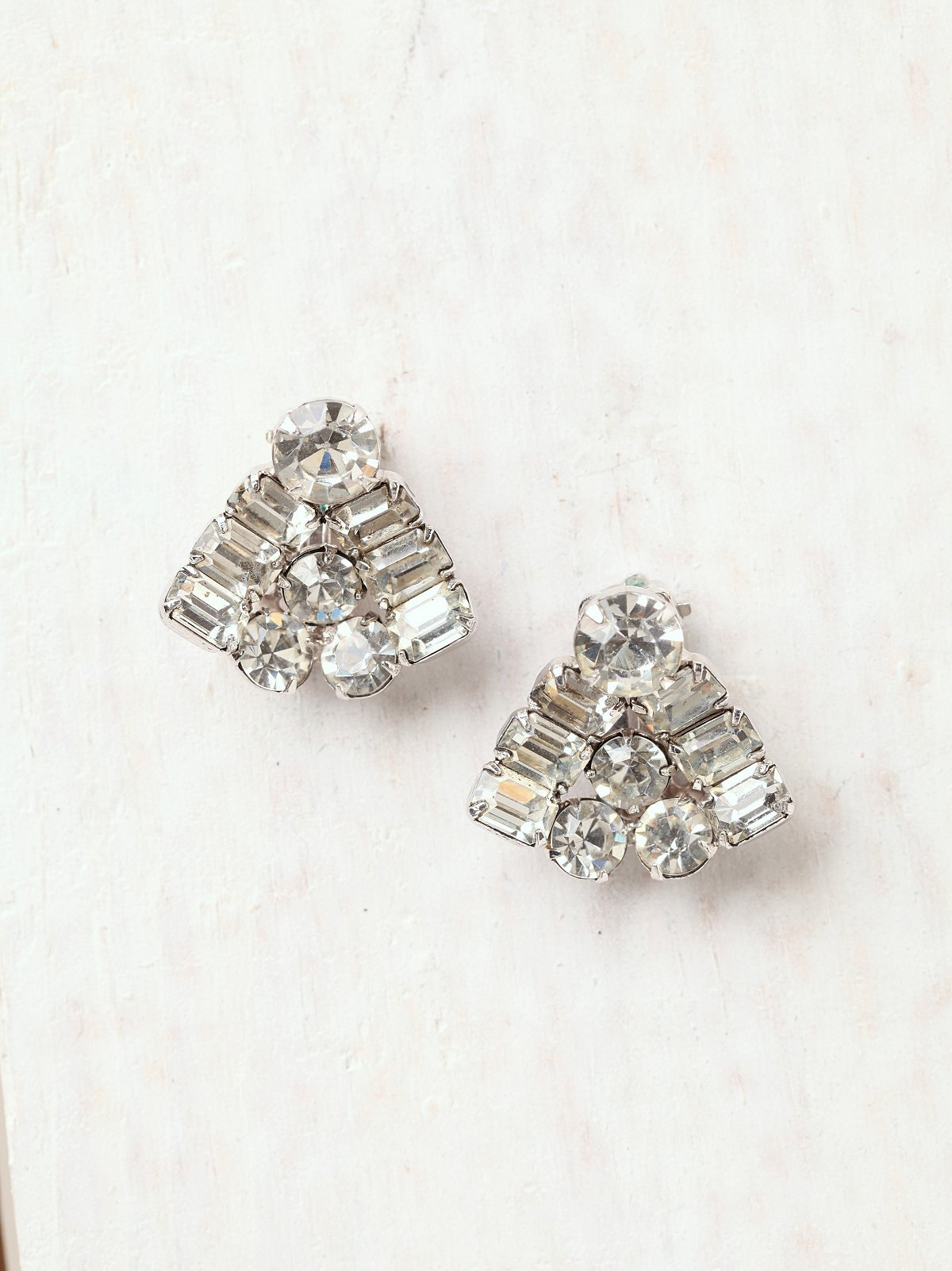Vintage Rhinestone Triangle Earrings