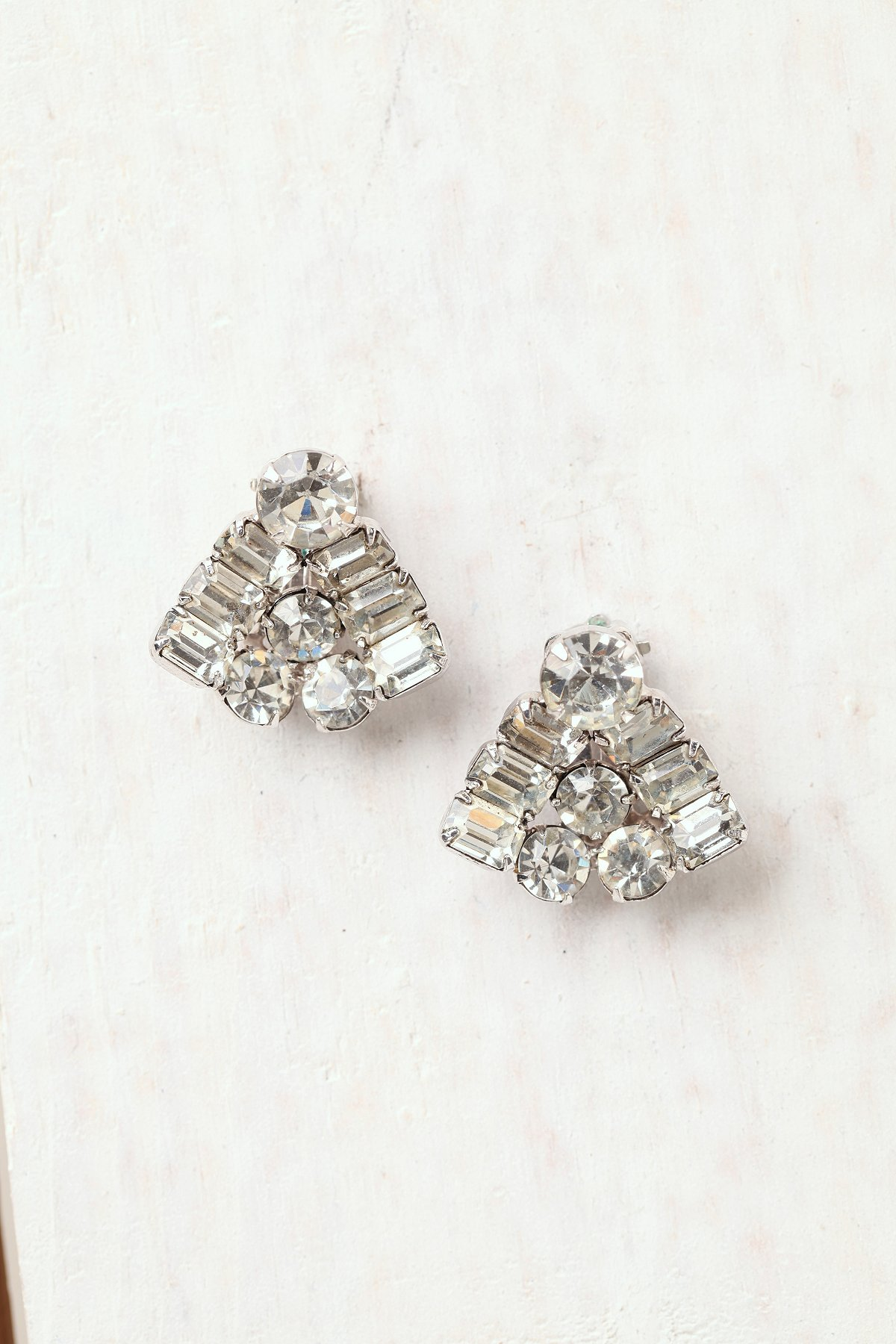 Vintage Rhinestone Triangle Earrings