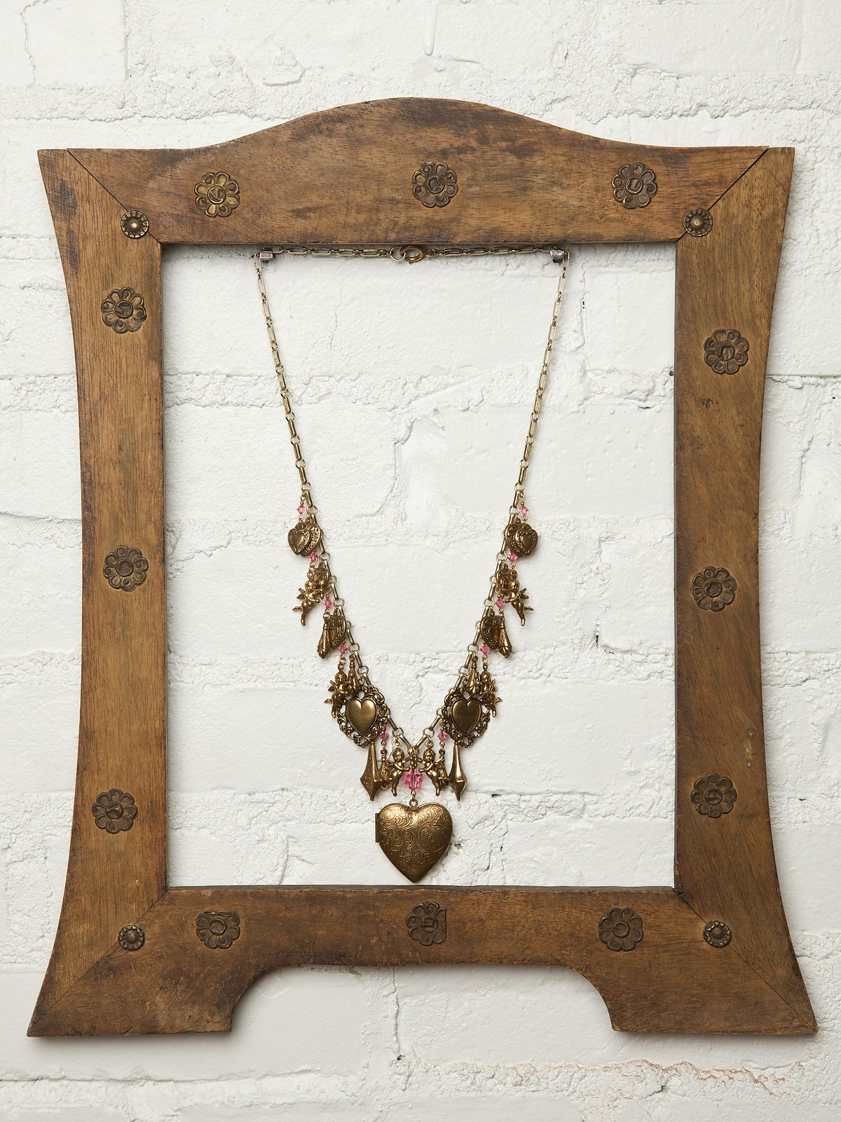 Vintage Brass Hearts Necklace