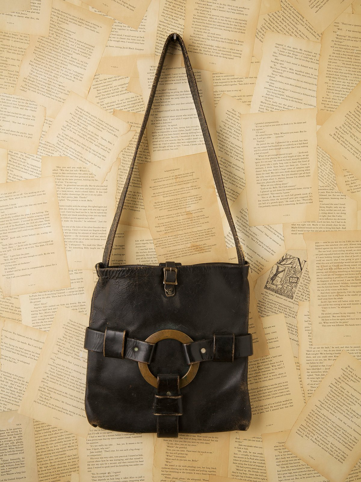 Vintage Square Horse Hide Bag with O Ring