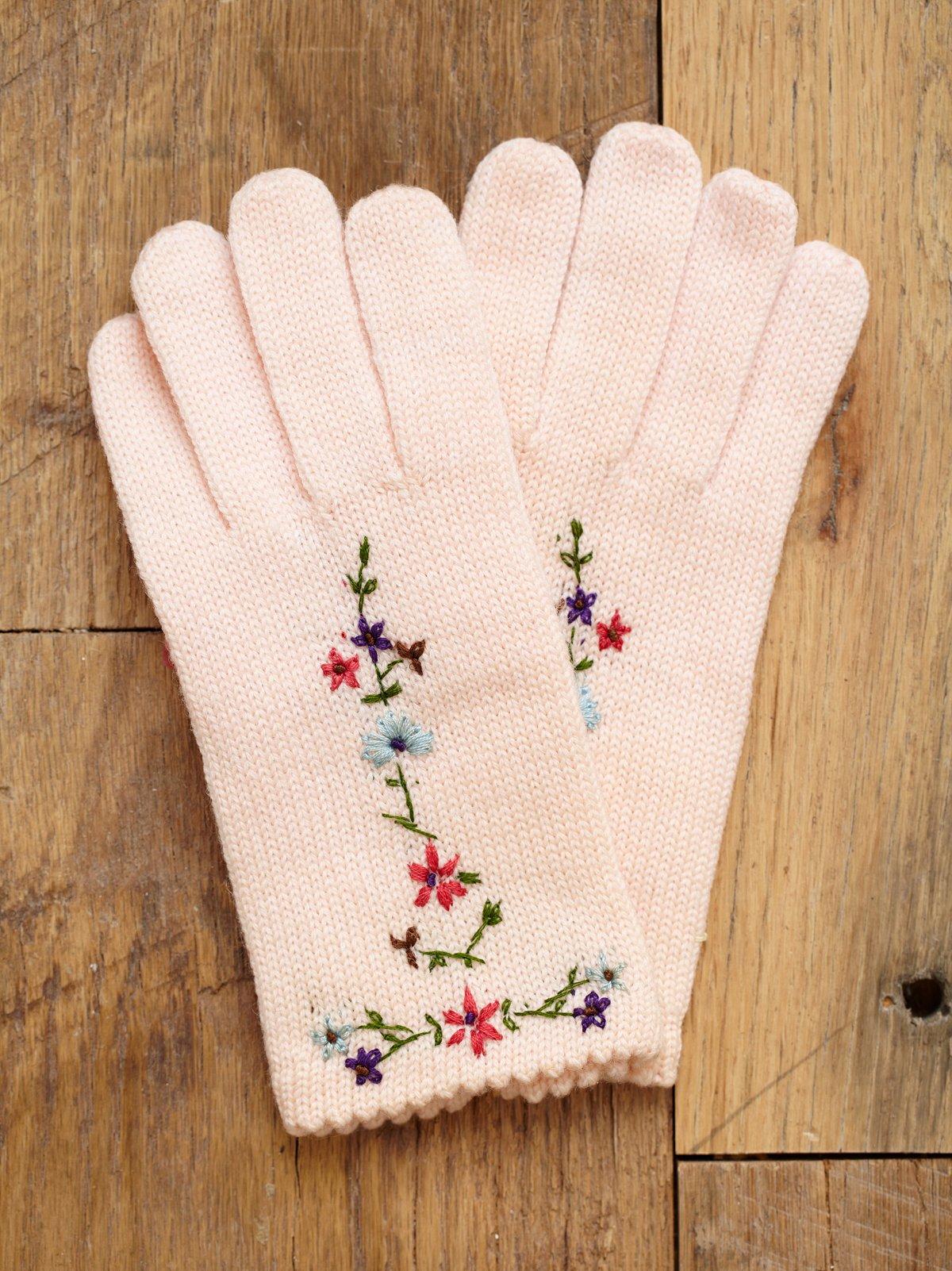 Vintage 1960s Pink Wool Gloves