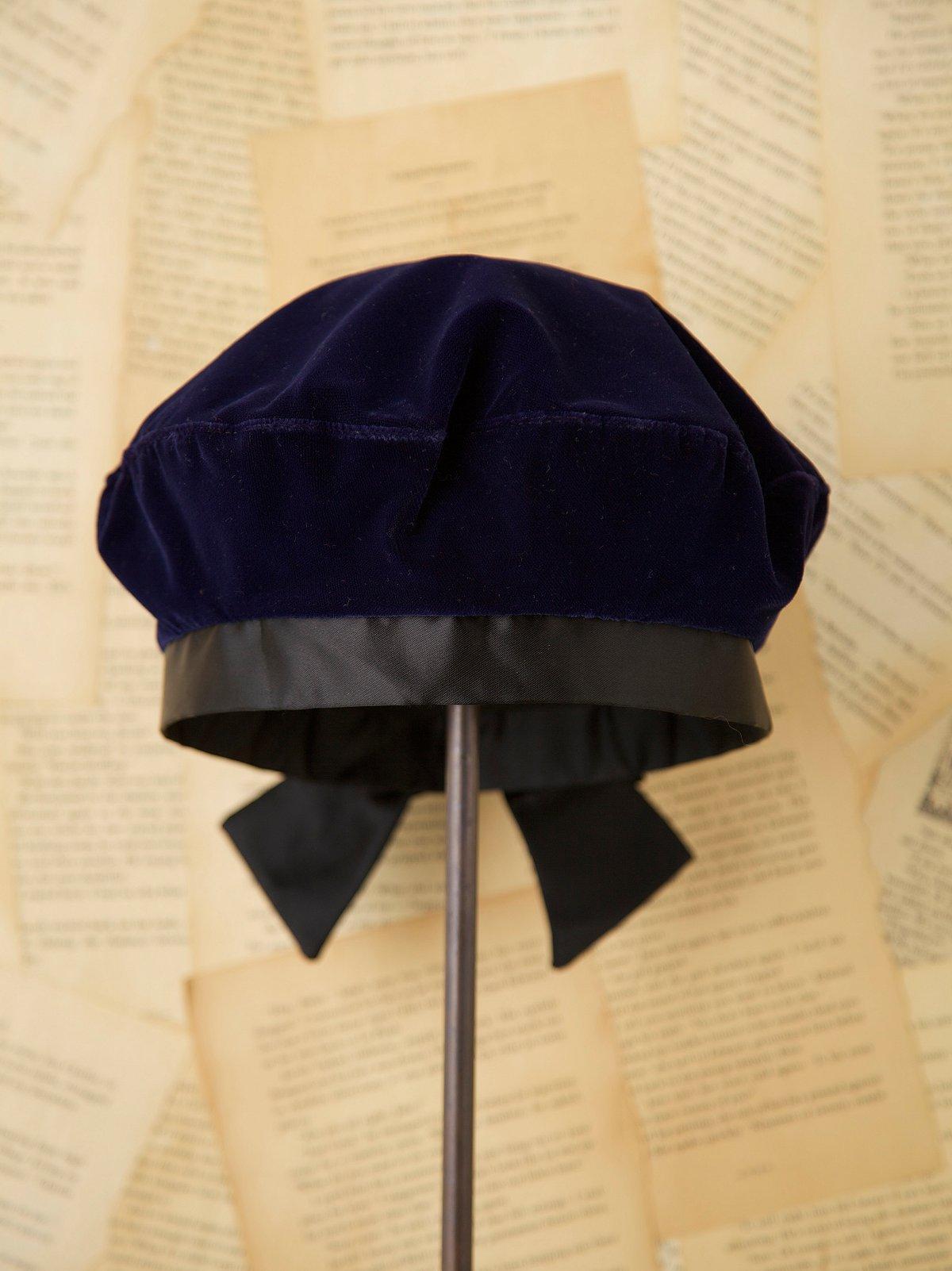 Vintage 1960s Blue Velvet Hat with Satin Bow