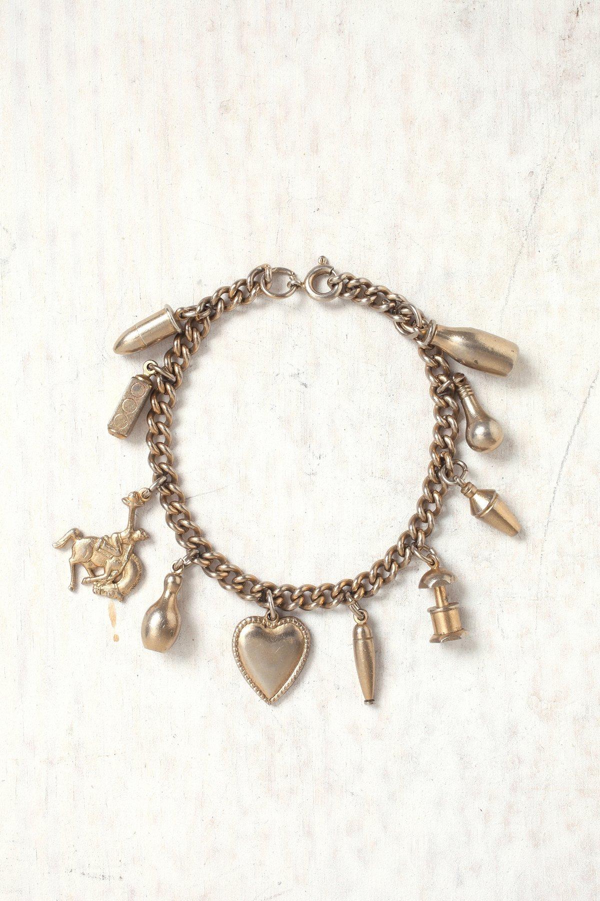 Vintage 1950s Silver Charm Bracelet