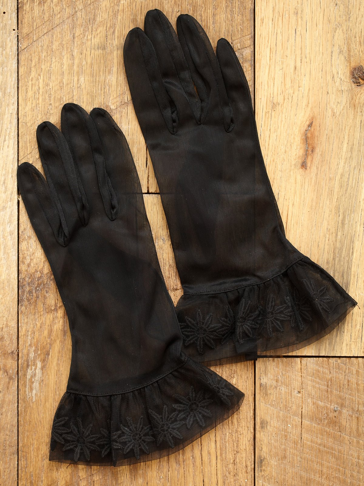 Vintage 1950s Black Sheer Gloves