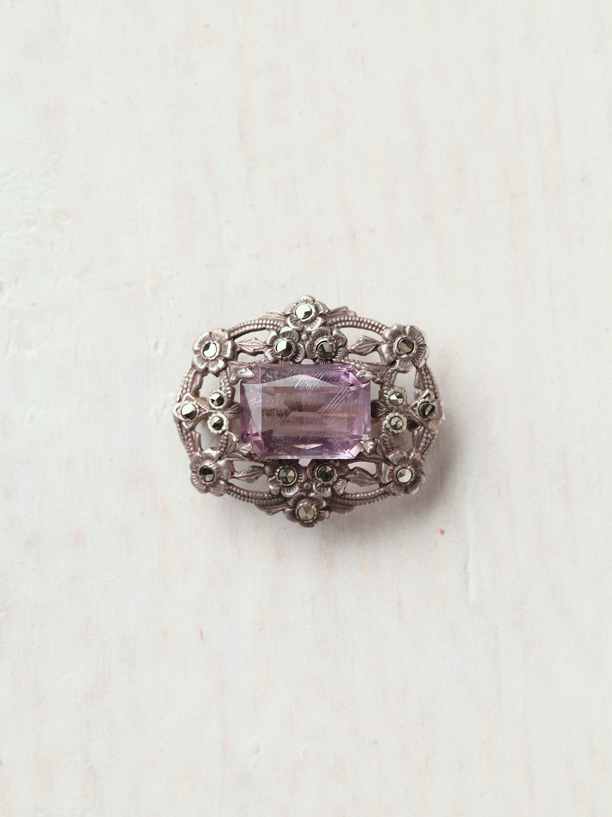 Vintage 1920s Silver Amethyst Small Pin with Flowers