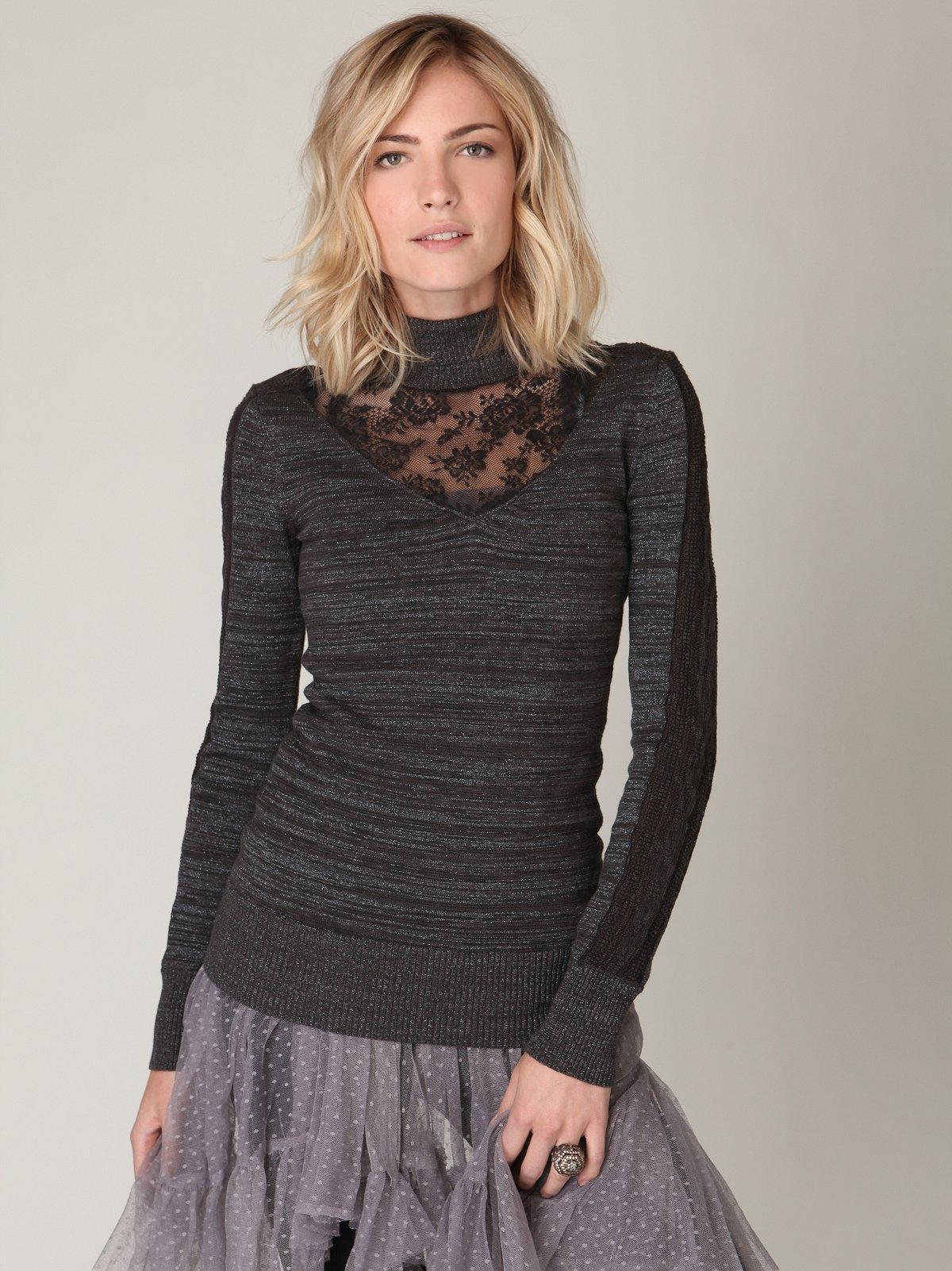 Long Sleeve Sweater & Lace Turtleneck