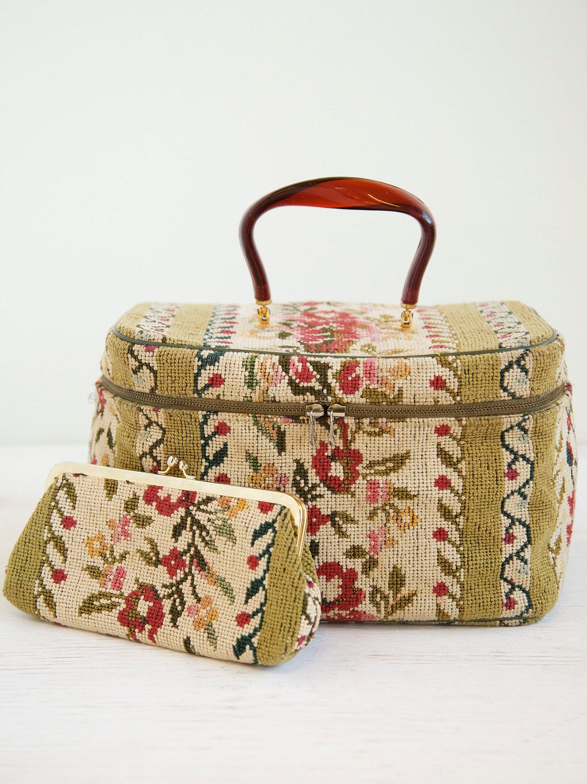 Vintage Floral Carpet Makeup Bag