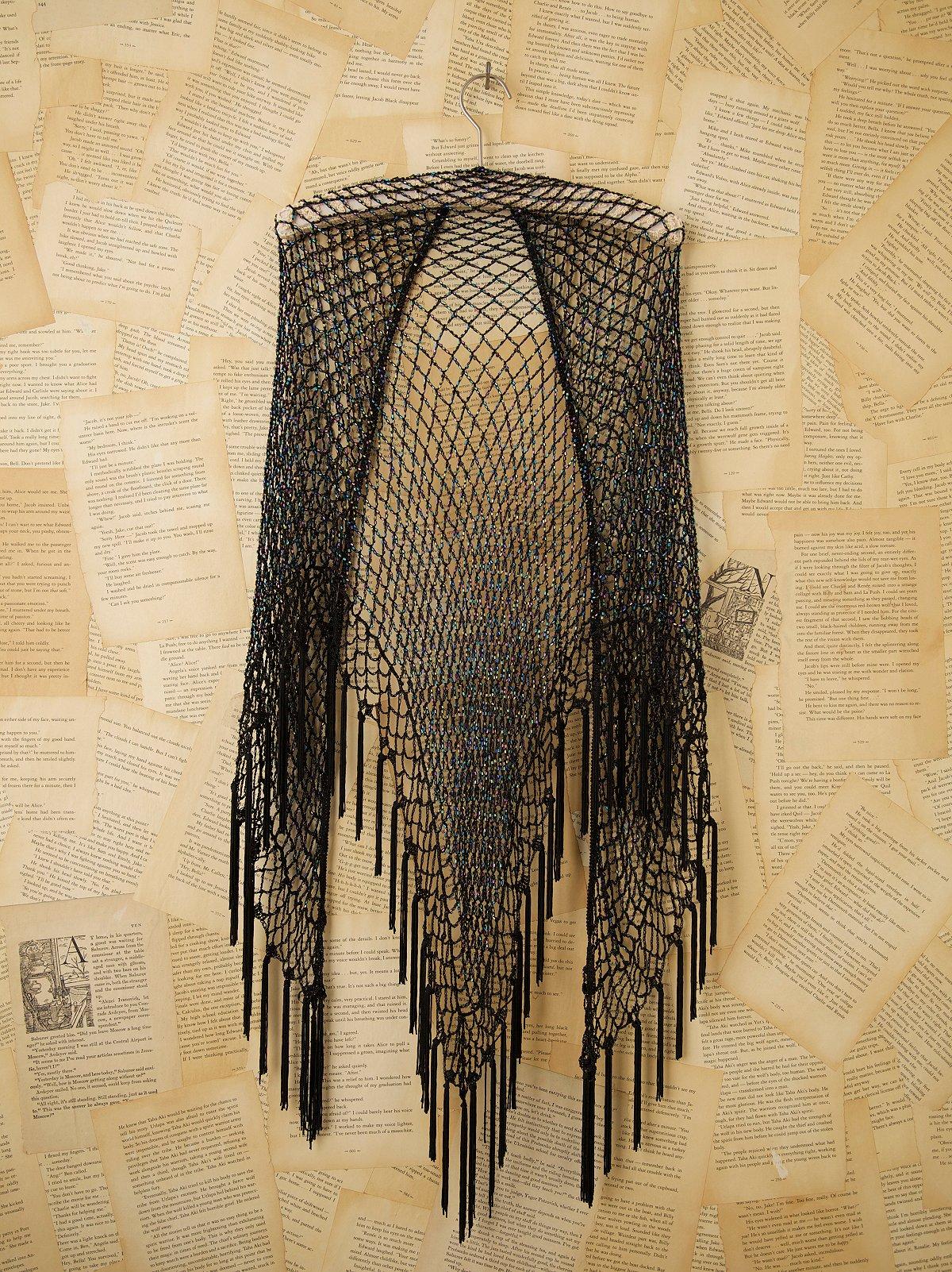 Vintage 1980s Black Beaded Shawl