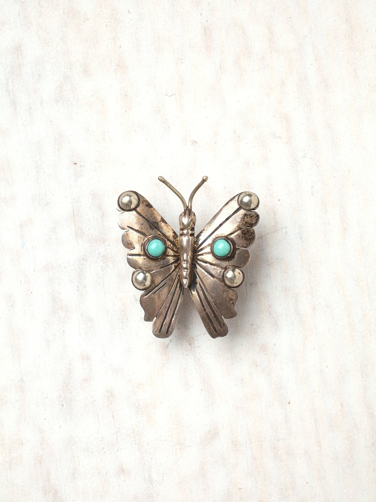 Vintage Turquoise Butterfly Pin