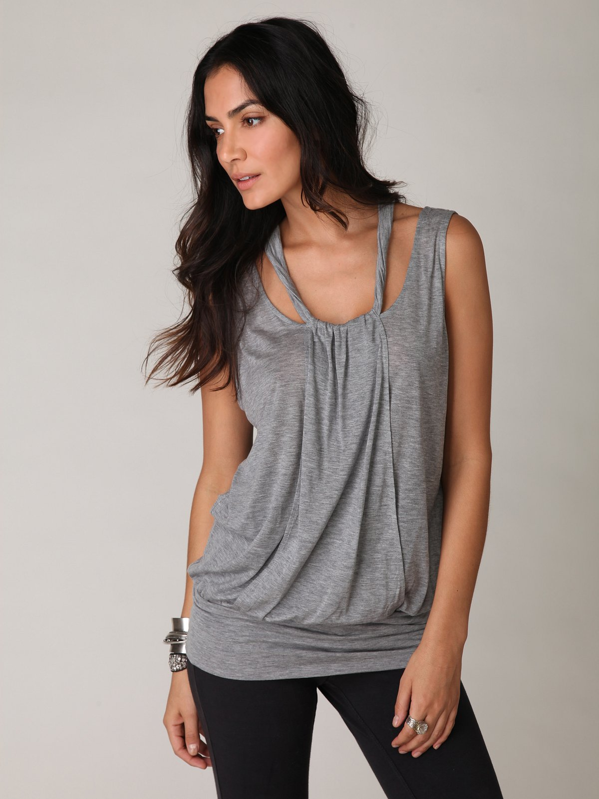Sleeveless Shoulder Cut Out Tunic