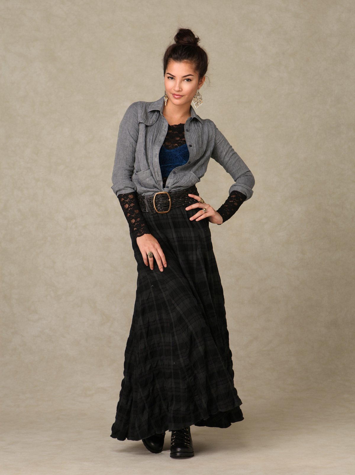 CP Shades Plaid Maxi Skirt