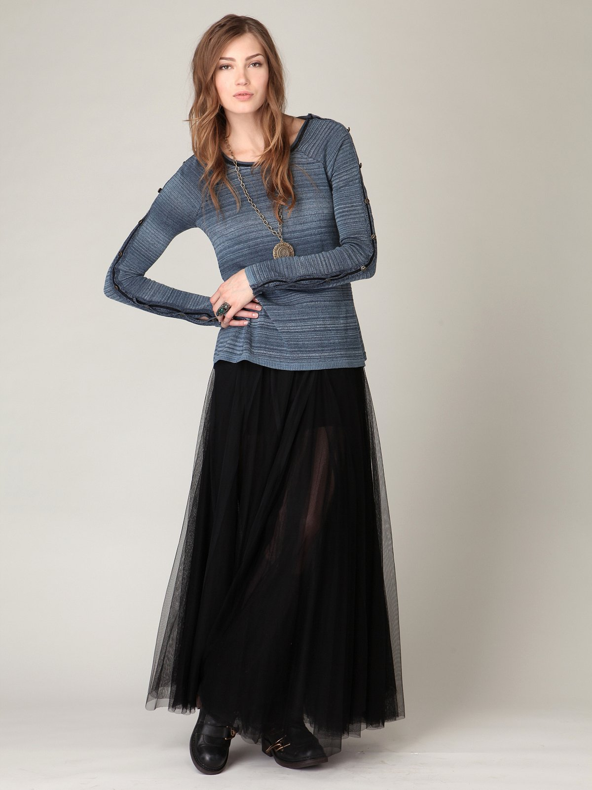 FP-1 Netted Layers Maxi Skirt